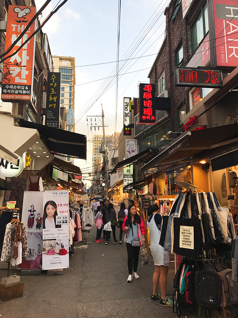south koreans view on north korea streets in seoul shopping
